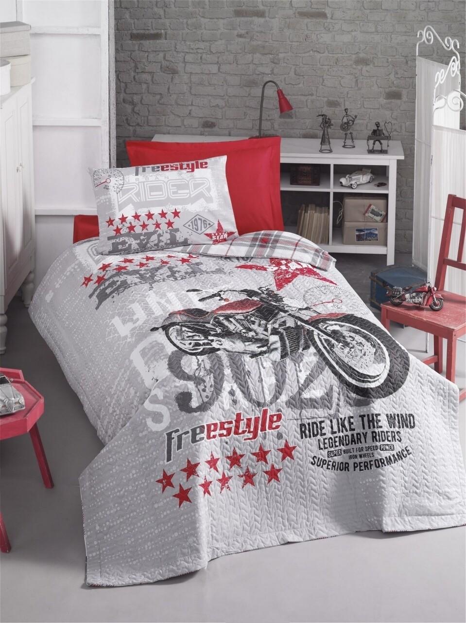 Lenjerie de pat matlasata pentru o persoana Young, 3 piese, 100% bumbac ranforce, Cotton Box, Freestyle Grey