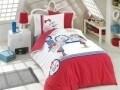 Lenjerie de pat pentru o persoana, 3 piese, 100% bumbac poplin, Hobby, Smilie. alb/rosu