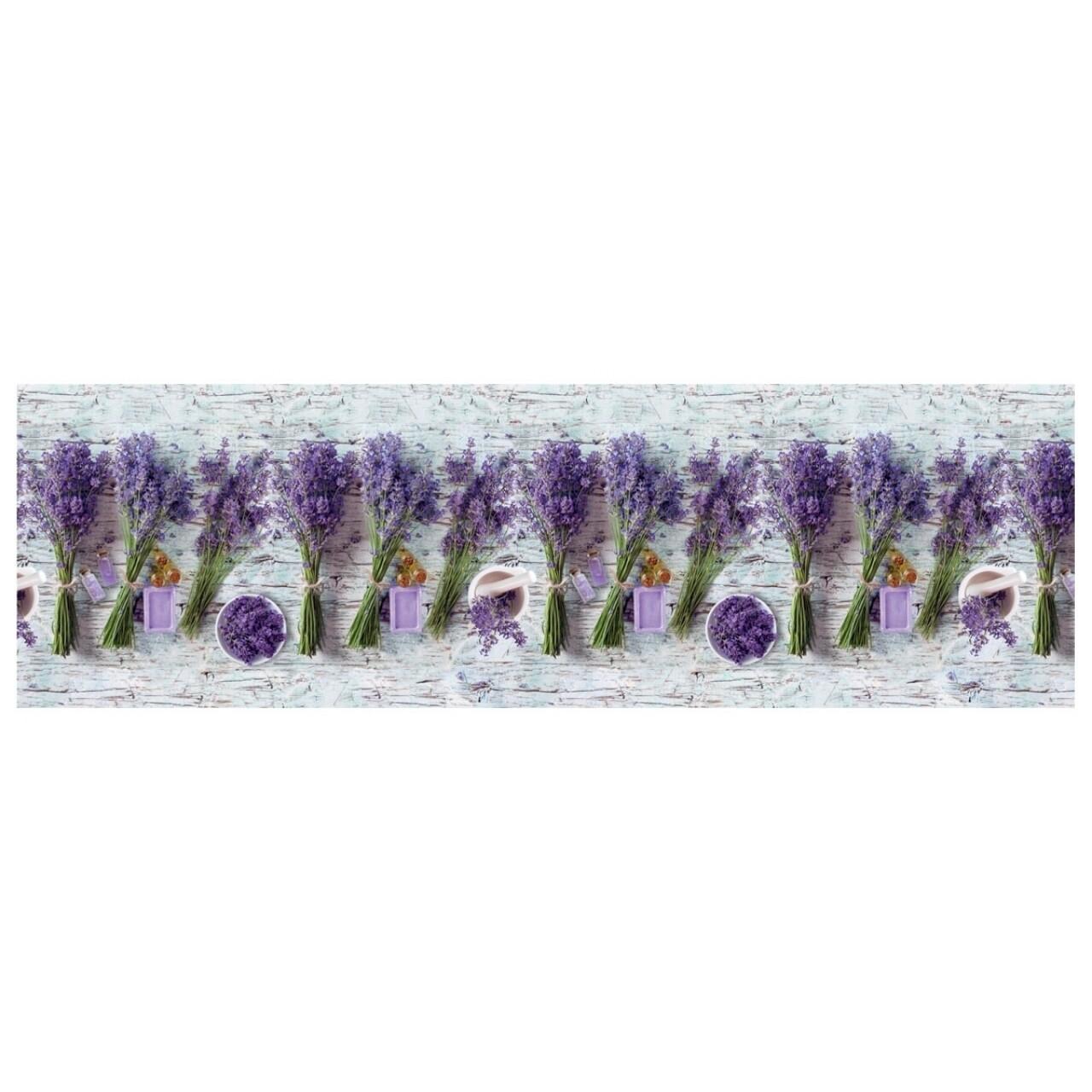 Covor rezistent Webtappeti Lavanda 58 x 115 cm, gri/mov/verde
