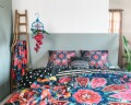 Lenjerie de pat dubla Loar Black, Melli Mello, 3 piese, 200 x 220 cm, 100% bumbac satinat, multicolora