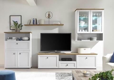 Mobilier living, Toskana, 1 x polita, 1 x comoda TV, 1 x dulap, 1 x dulap suspendat, PAL/MDF, alb