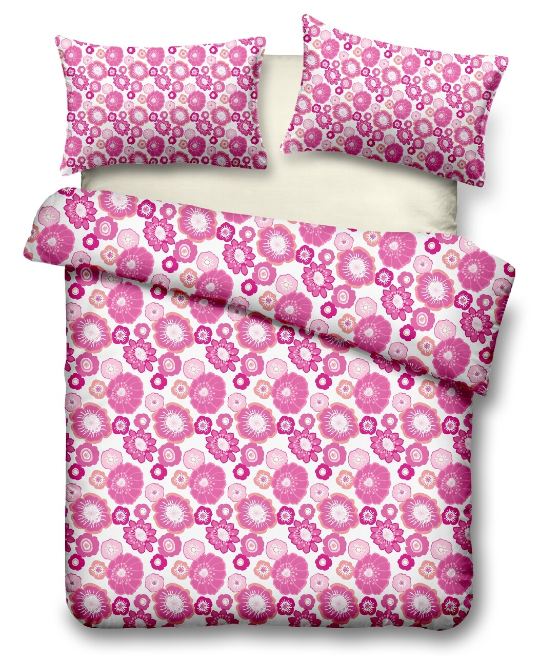 Lenjerie de pat dubla Daisy, Heinner, 4 piese, 220 x 240 cm, 100% microfibra, roz