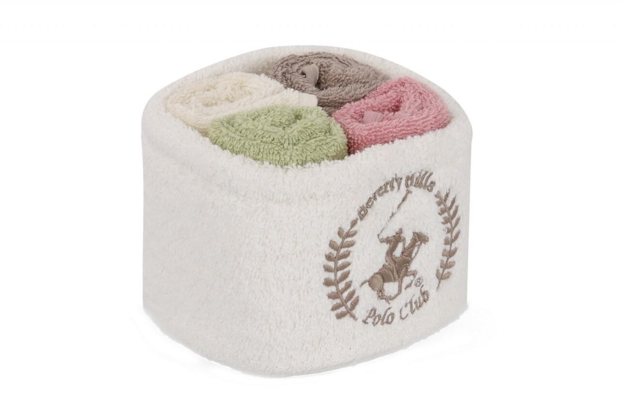 Set 4 prosoape de baie cu cos, Beverly Hills Polo Club, 30x30 cm,  100% bumbac, alb/maro/verde deschis/ roz