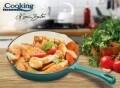 Tigaie emailata, Cooking by Heinner, 24.5 x 4.5 cm, fonta, bej si bleu