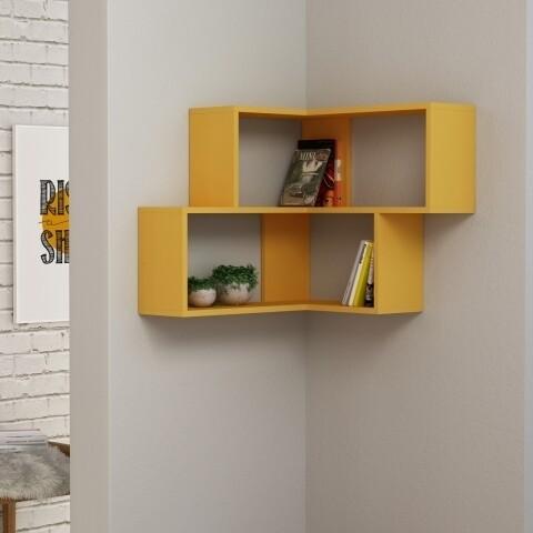 Raft pentru perete, Homitis, Corner - Mustard, 20x70x61.5 cm