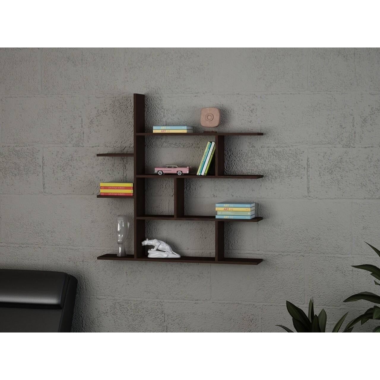 Raft pentru perete, Wooden Art, Wenge, 120x121.8x22 cm