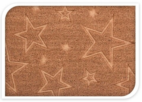 Covoras de intrare din fibra de cocos, 60x40 cm Stars, maro