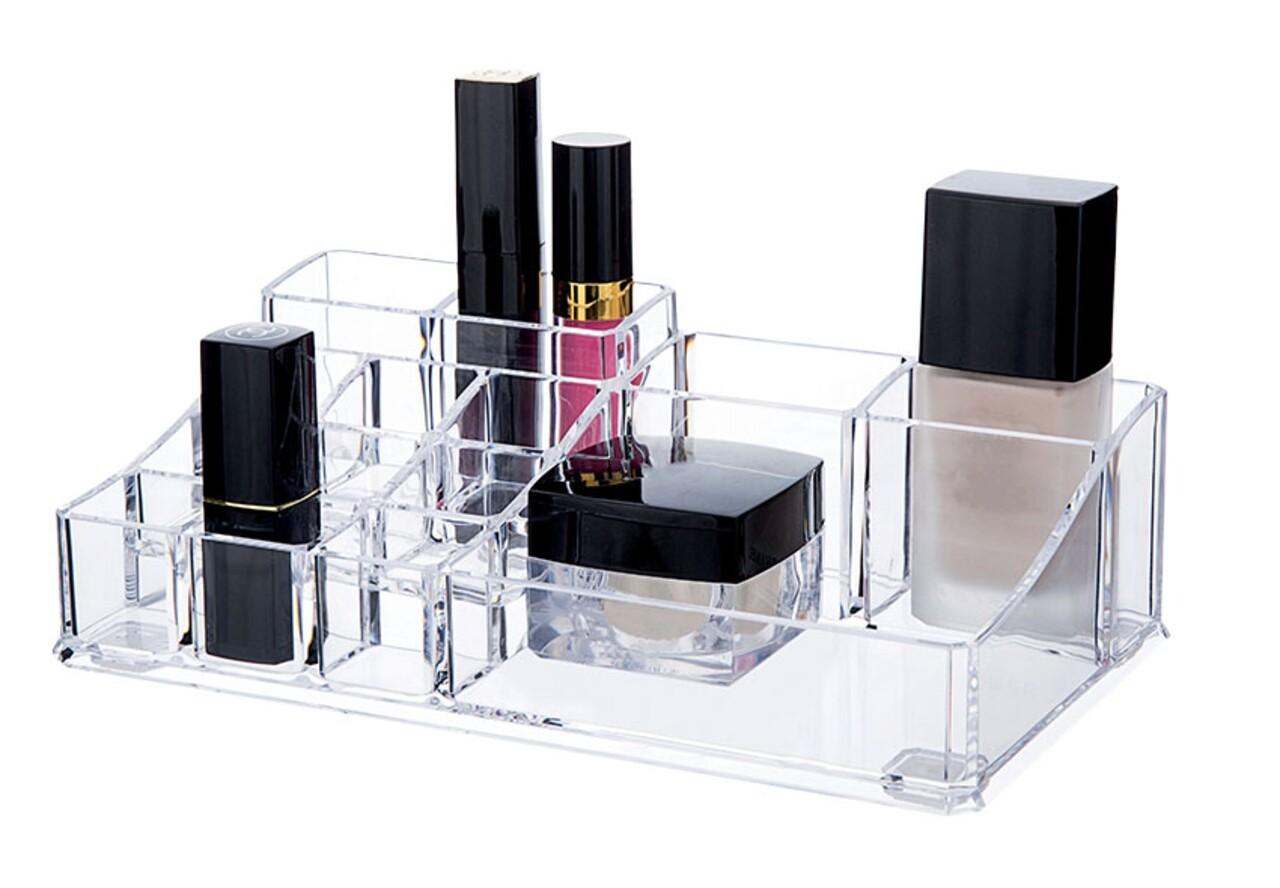 Organizator pentru cosmetice Compactor, 14 compartimente, transparent