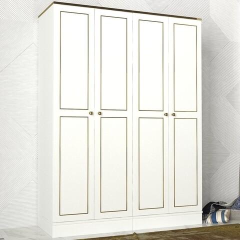Dulap pentru haine Ravenna 4 Kapili White, Talon, 140 x 47.2 x 194 cm, alb/auriu