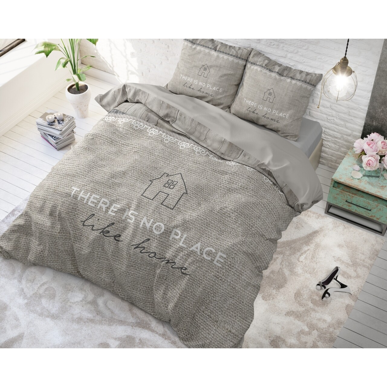 Lenjerie de pat pentru doua persoane Like Home Taupe, Royal Textile, 100% bumbac