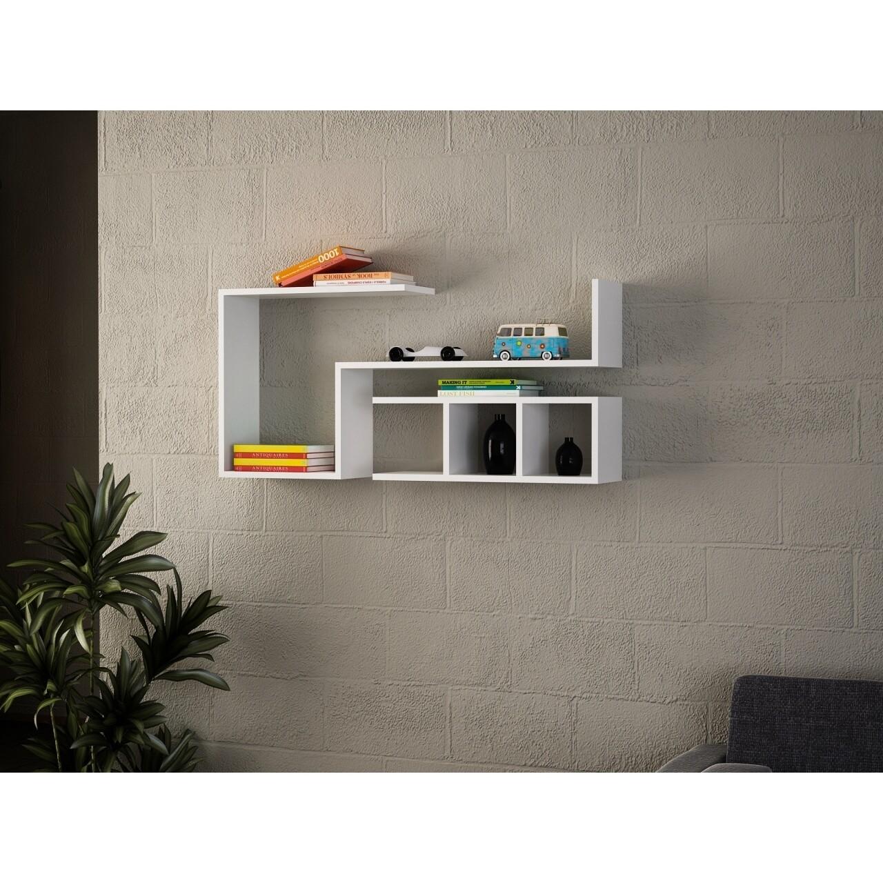 Raft pentru perete, Wooden Art, Finito White, 117x55.5x22 cm