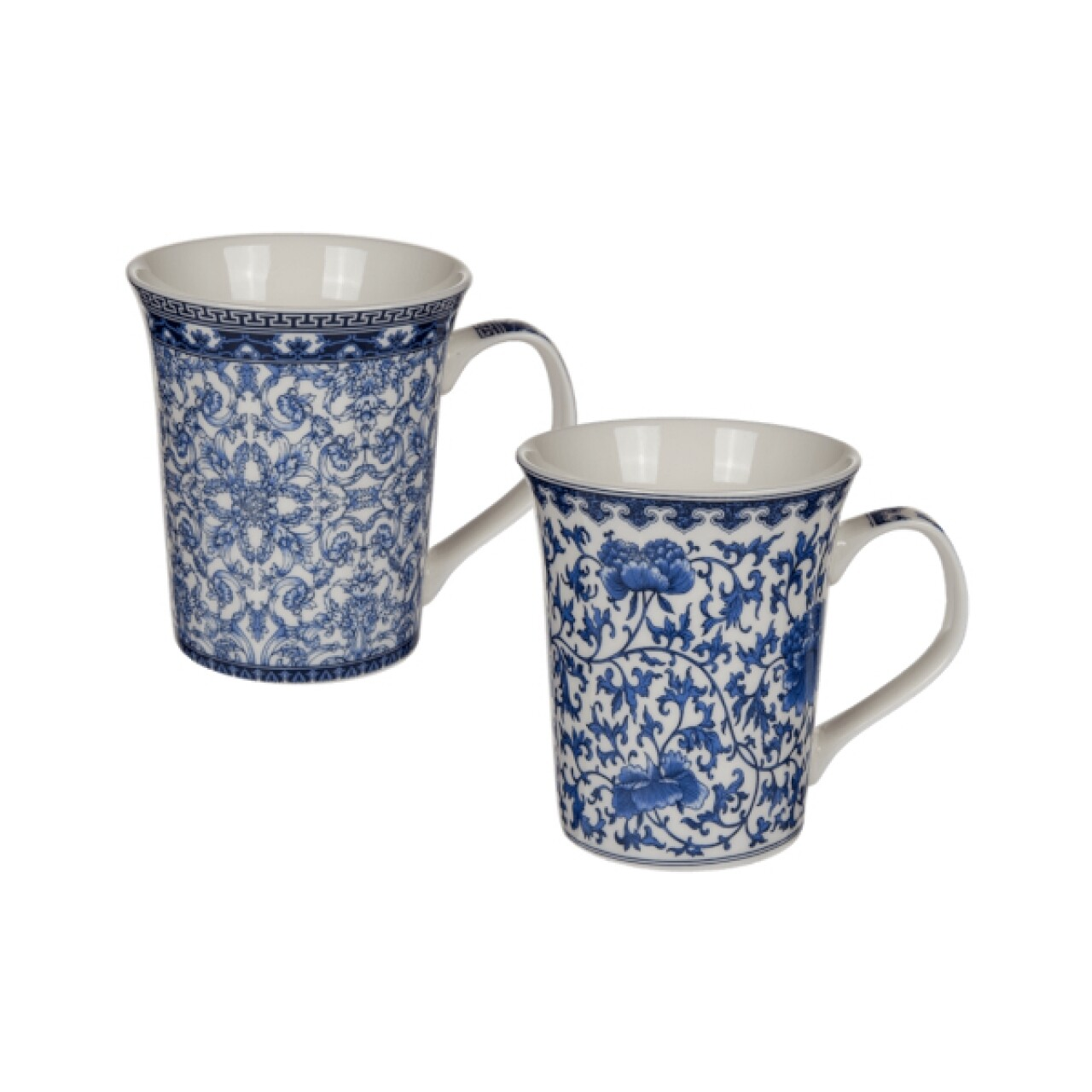 Set 2 cani Blue Flowers, Out of the blue, 250 ml, ceramica, alb/albastru