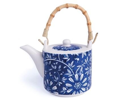 Ceainic, Oriented Blue Flowers, Color Life, 550 ml, portelan/bambus