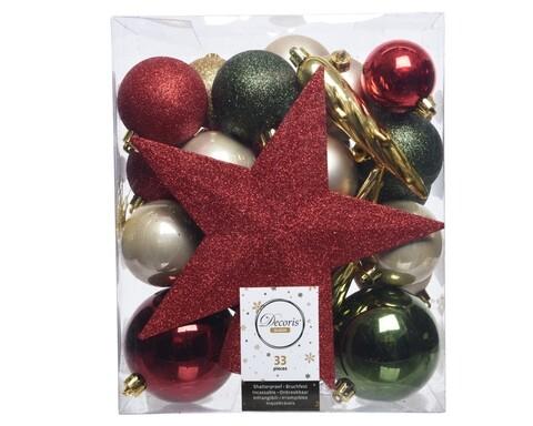 Cutie cu 33 globuri asortate si varf de brad Star Christmas, Decoris, plastic, multicolor