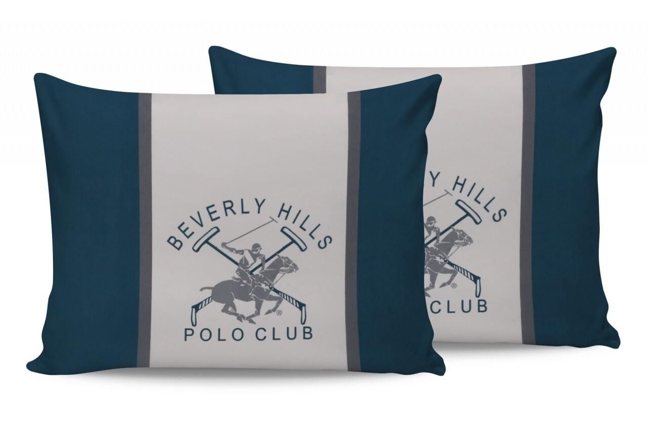 Set 2 fete de perna 50x70, 100% bumbac, Beverly Hills Polo Club, Alb/Verde