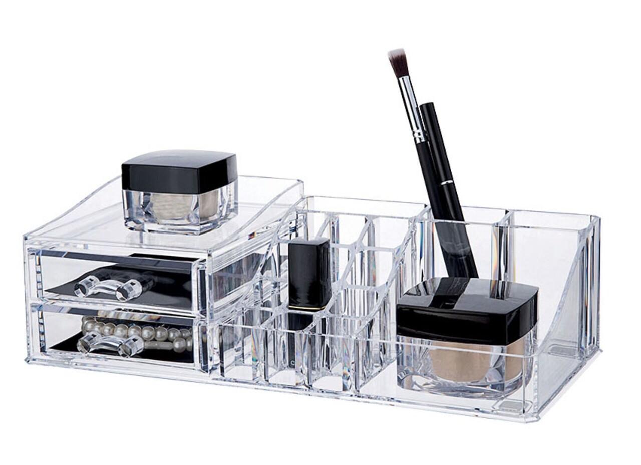 Organizator pentru cosmetice Compactor, 16 compartimente si 2 sertare, transparent