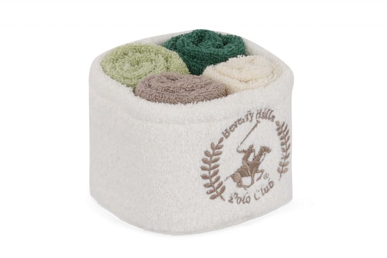 Set 4 prosoape de baie cu cos Beverly Hills Polo Club, 30x30 cm,  100% bumbac, alb/maro/verde deschis/verde inchis