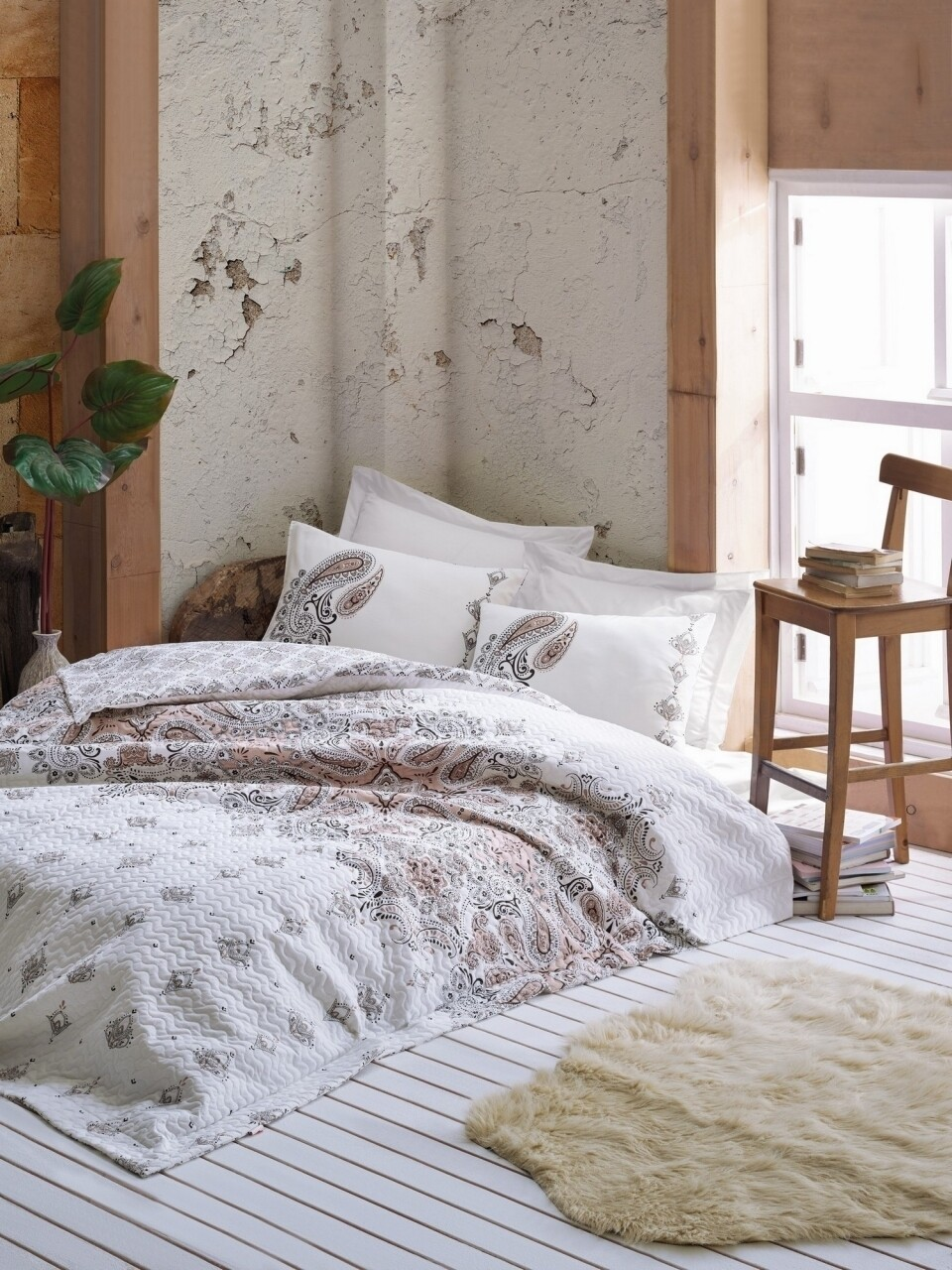 Lenjerie de pat matlasata pentru o persoana, 3 piese, 100% bumbac ranforce, Cotton Box, Harley Beige