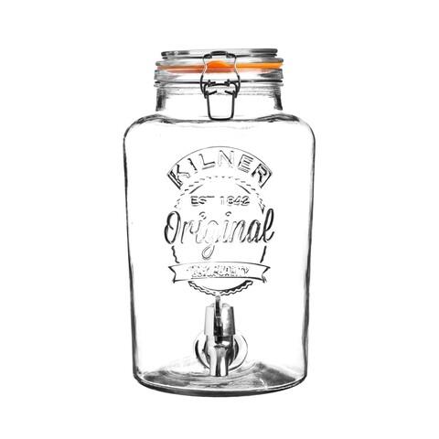 Dispenser pentru bauturi in cutie cadou, Kilner, Alegria, 5 L, sticla, transparent