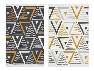 Covor Kilim cu 2 fete, Arya 18 Yellow/Grey, Baketo, 100% bumbac reciclat, 80x300 cm