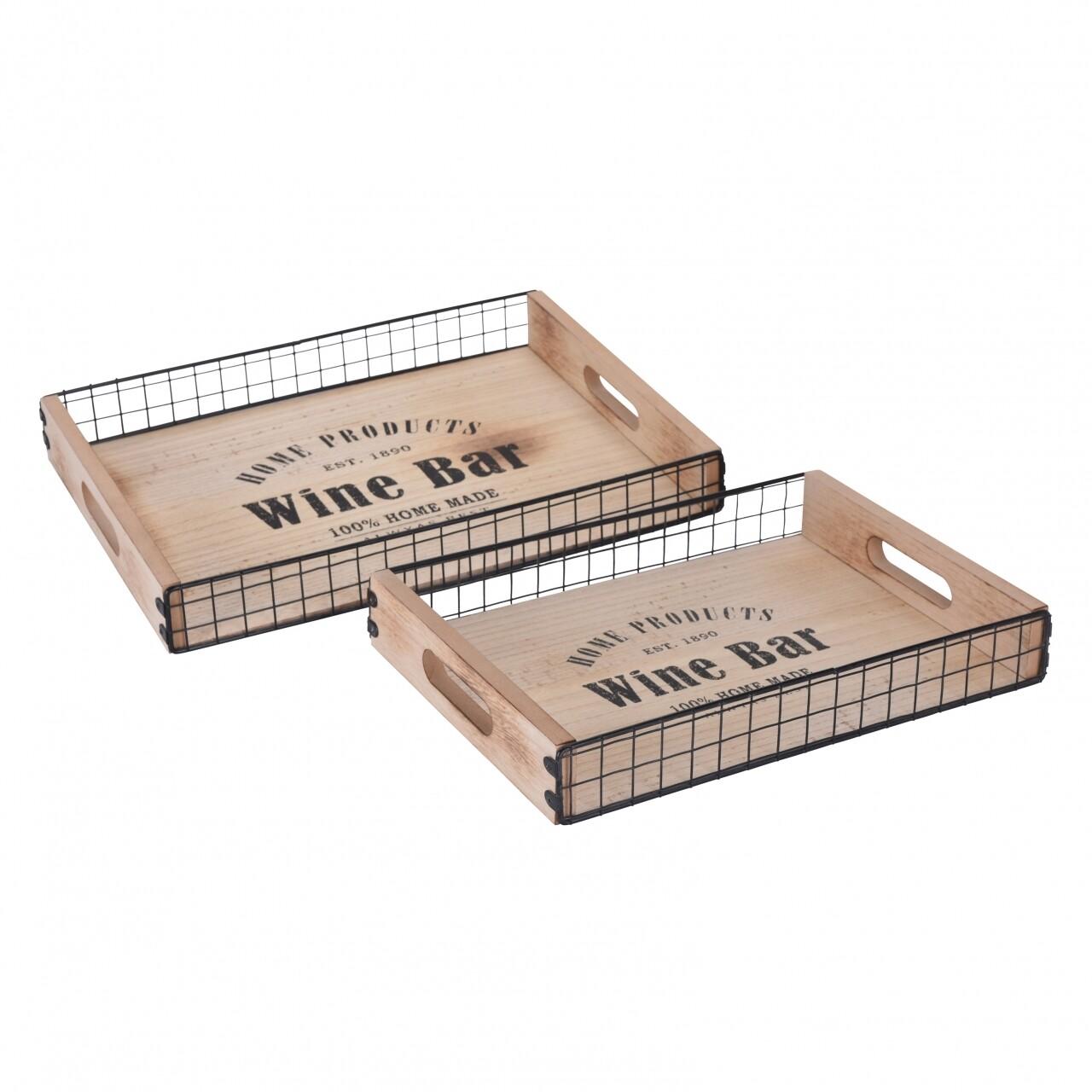Set 2 tavi servire Wine Bar, 39 x 29 x 5 cm si 33x24x5 cm, lemn/metal, natur/negru