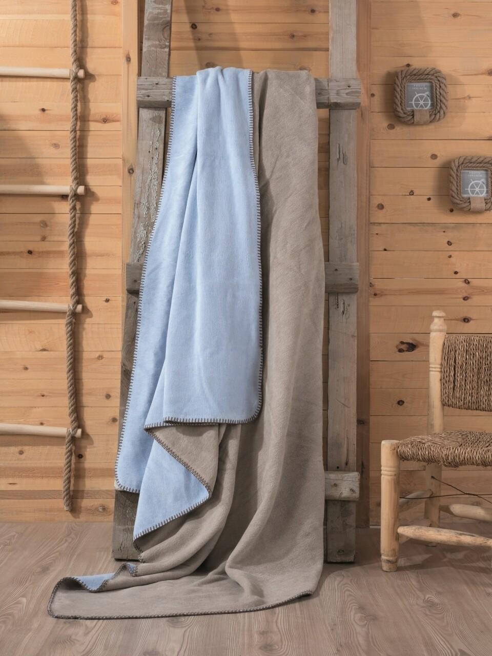 Patura pentru pat dublu din bumbac si acrylic, 200x200 cm, Cotton Box, albastru/maro