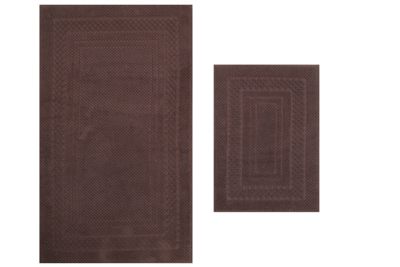 Set 2 covoare de baie, 100% bumbac, Hobby, Chequers Brown