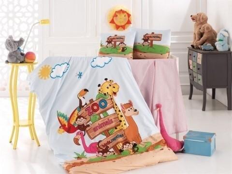 Lenjerie de pat pentru copii Zoo, Nazenin Home, 4 piese, 120 x 160 cm, 100% bumbac ranforce, multicolora