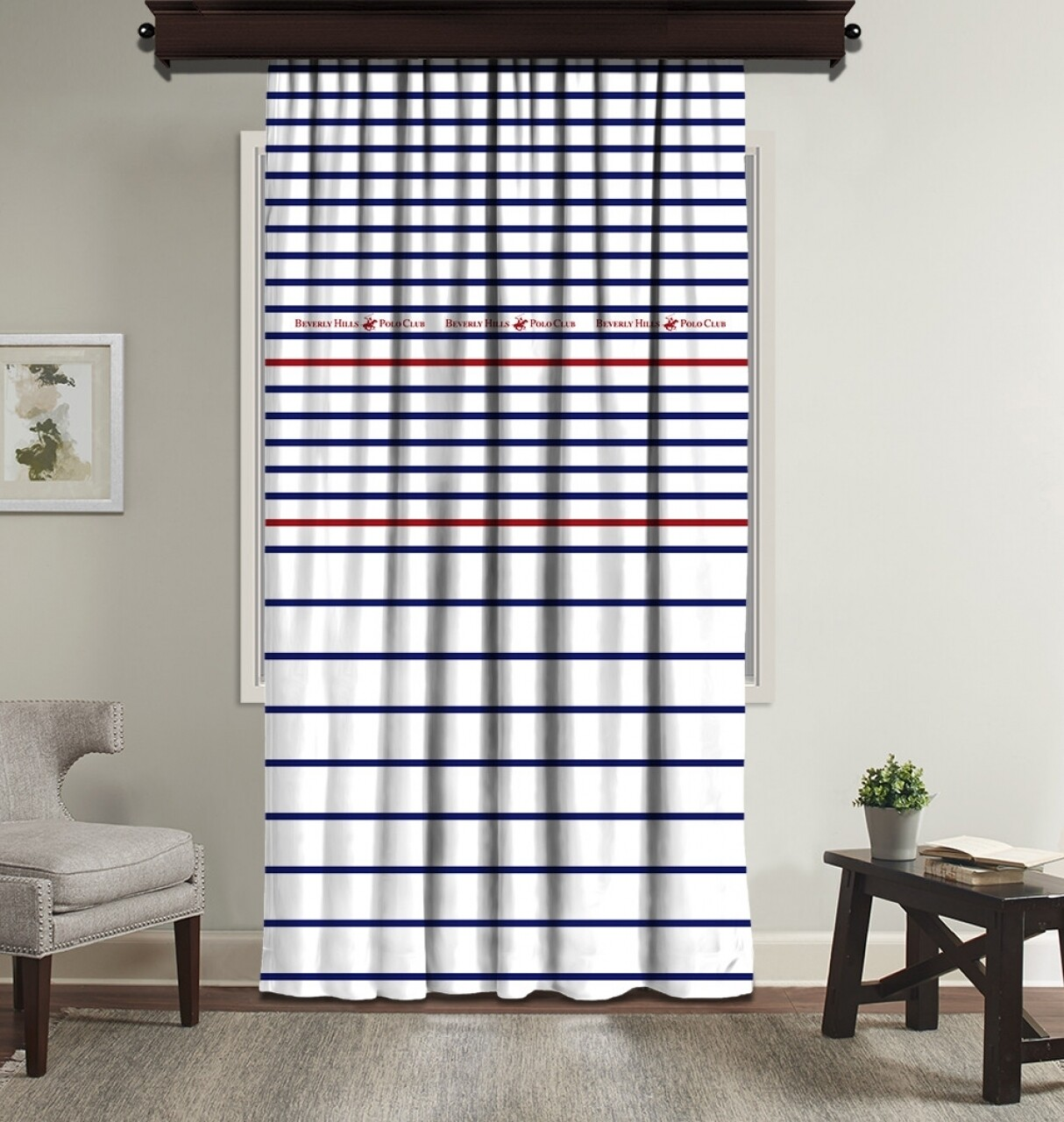 Draperie Beverly Hills Polo Club, 140x260, 100% poliester, White/Blue/Red