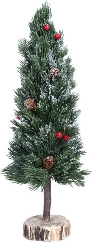 Decoratiune Tree with pine, 17x10x50 cm, lemn, verde
