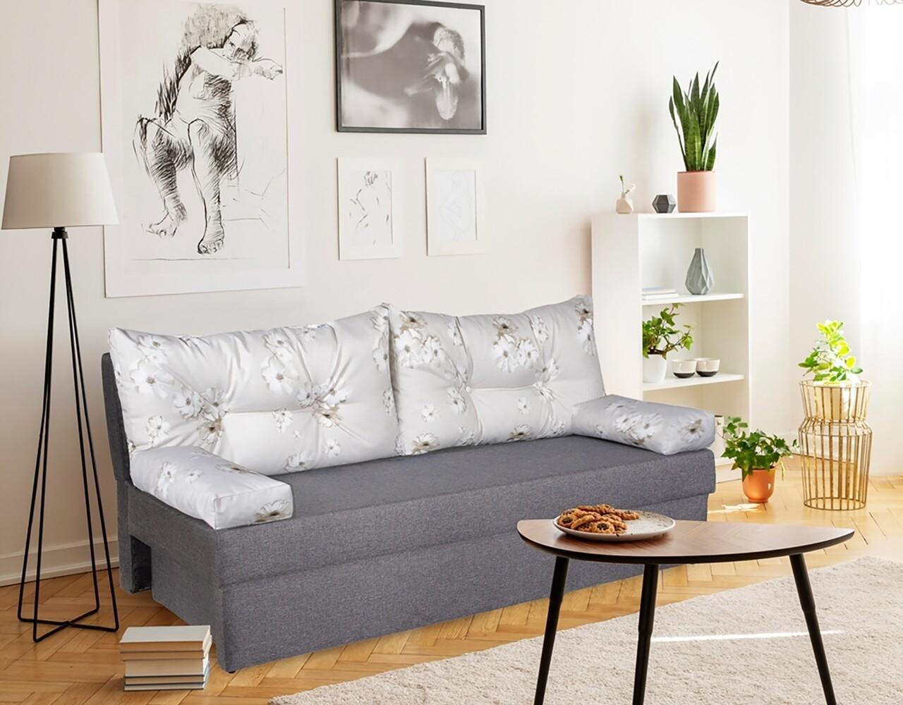 Canapea extensibila Alfi Grey 192x80x77 cm cu lada de depozitare, Daisies Flower
