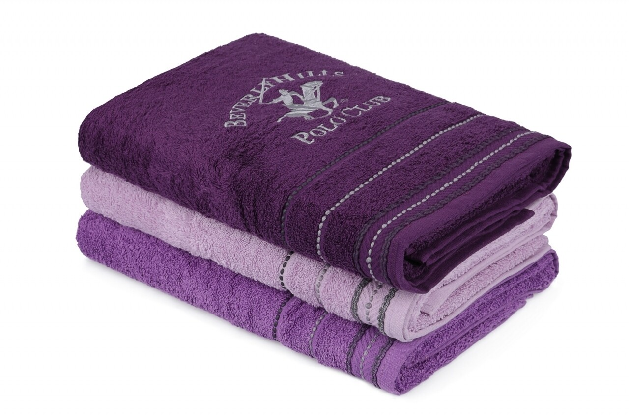 Set 3 prosoape de baie Beverly Hills Polo Club, 70x140 cm, 100% bumbac, Purple/Dark Purple/Light Purple
