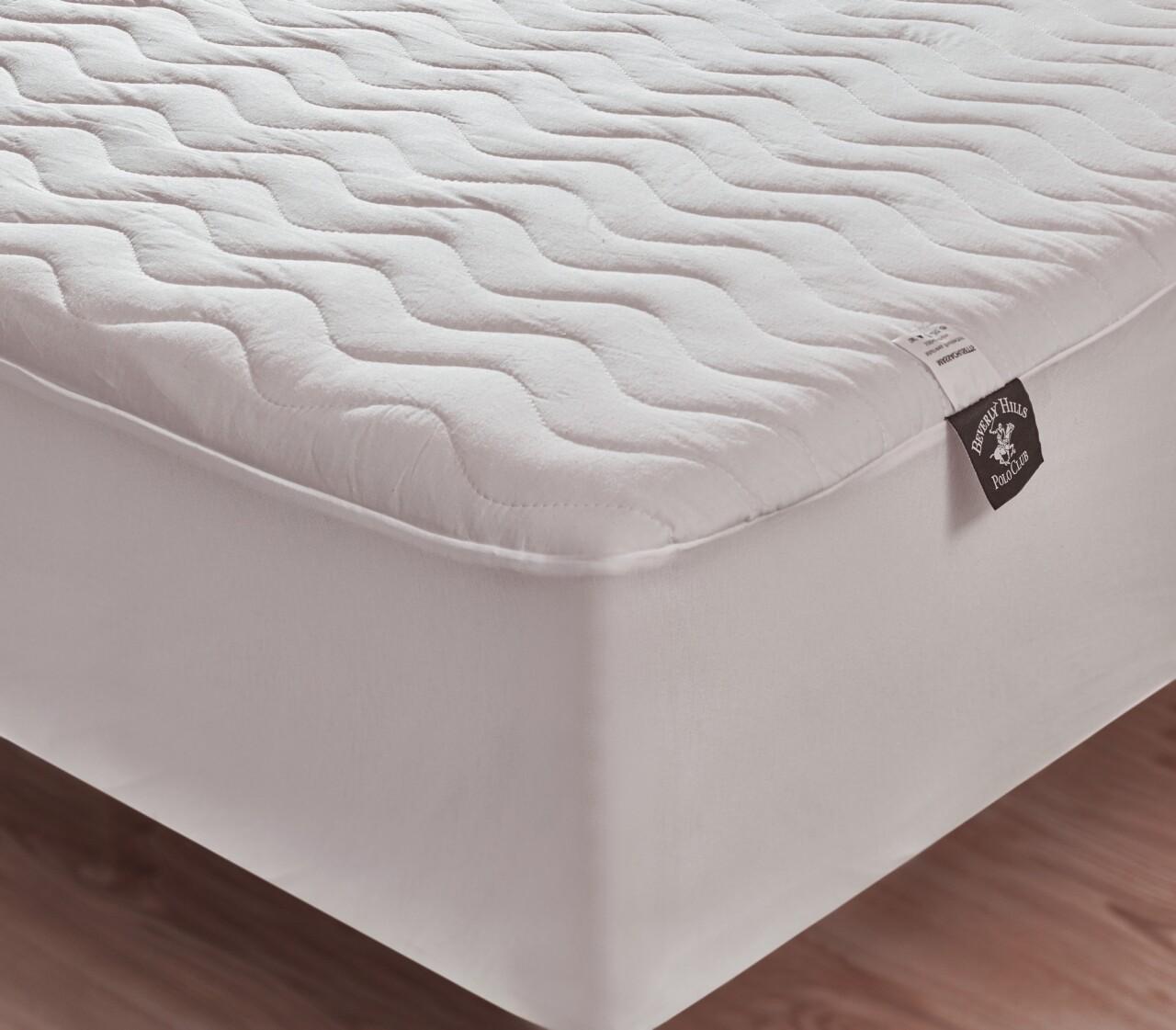 Husa protectie de pat pentru o persoana, 100x200 cm, 100% bumbac, Beverly Hills Polo Club, White