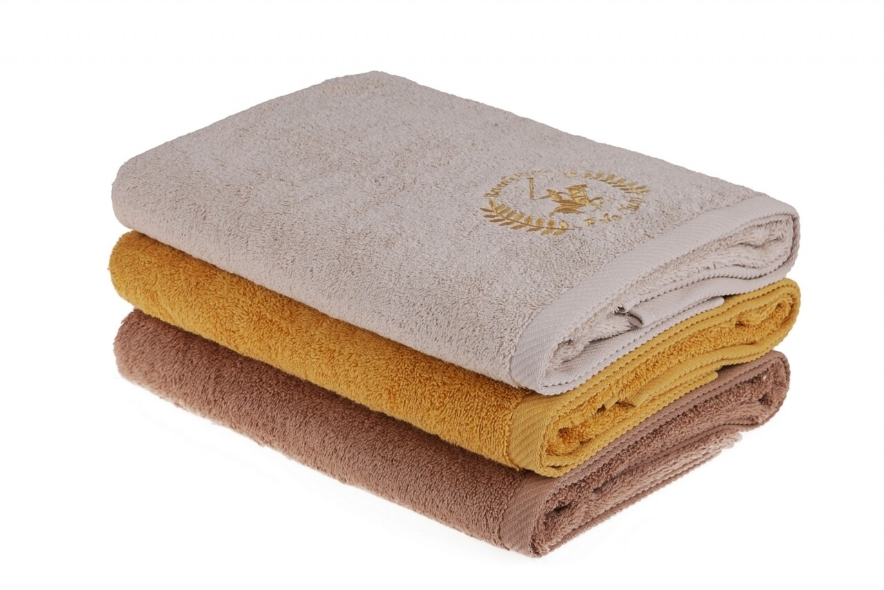 Set 3 prosoape de baie Beverly Hills Polo Club, 70x140 cm, 100% bumbac, Rock/Light Brown/Mustard