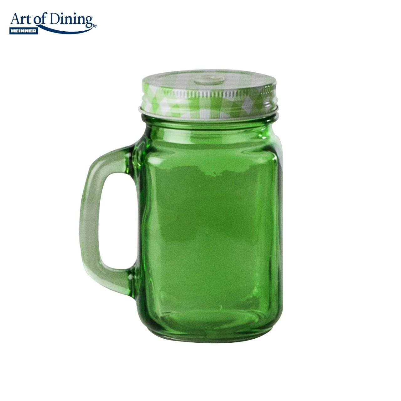 Halba tip borcan cu capac perforat Green, Heinner Home, 400 ml, sticla/metal, verde