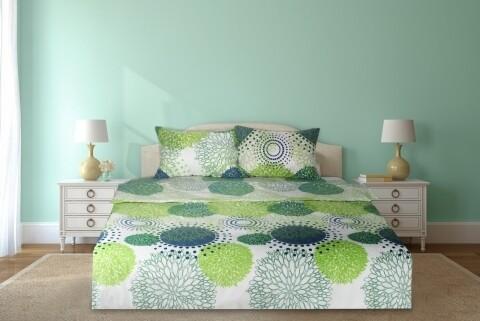 Lenjerie de pat dubla Cote Chic, Heinner, 4 piese, 200 x 220 cm, 100% bumbac, alb/verde