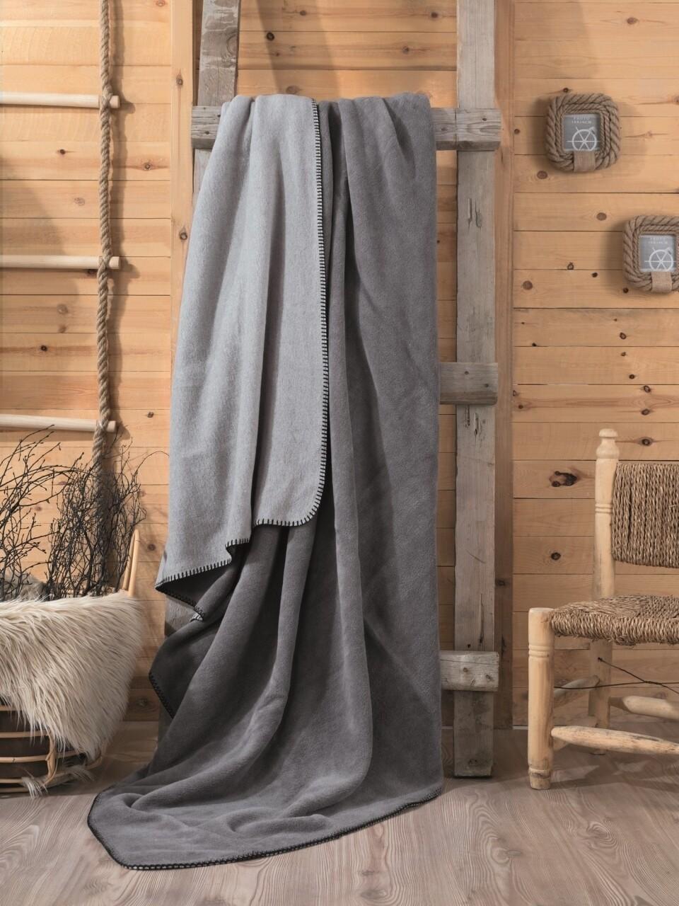 Patura pentru pat dublu din bumbac si acrylic, 200x200 cm, Cotton Box, gri
