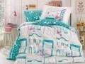 Lenjerie de pat pentru o persoana, 3 piese, 100% bumbac poplin, Hobby, Sonia, alb/turcoaz