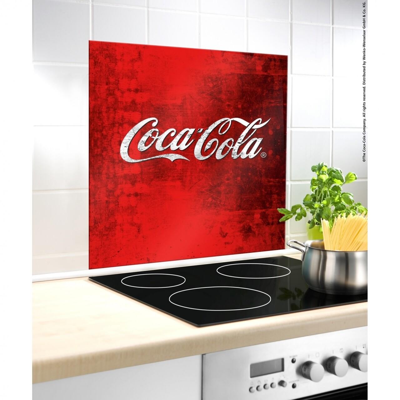 Protectie perete bucatarie Coca-Cola Classic, Wenko, 60 x 70 cm, sticla termorezistenta, rosu