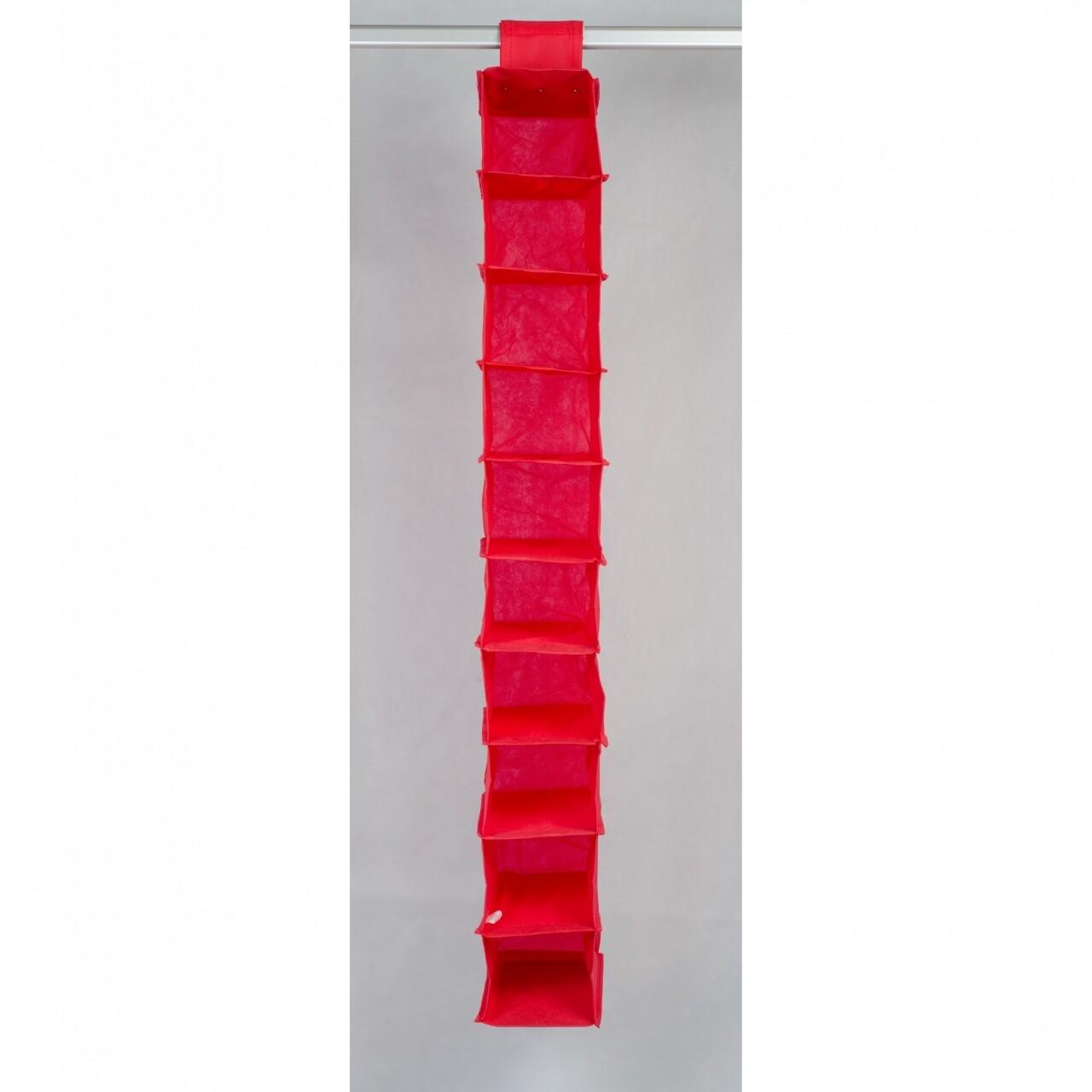 Organizator, Jocca, 10 rafturi, 15x30x122 cm, polipropilena, rosu