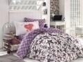 Lenjerie de pat pentru o persoana, 3 piese, 100% bumbac poplin, Hobby, Carmen Lilac, multicolora