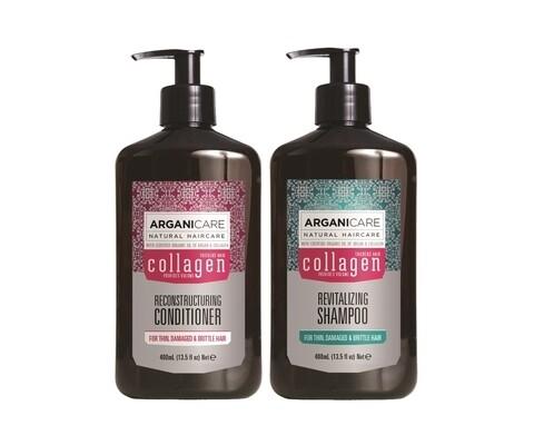 Set sampon si balsam par subtire, deteriorat si fragil Collagene, Arganicare, 400 ml