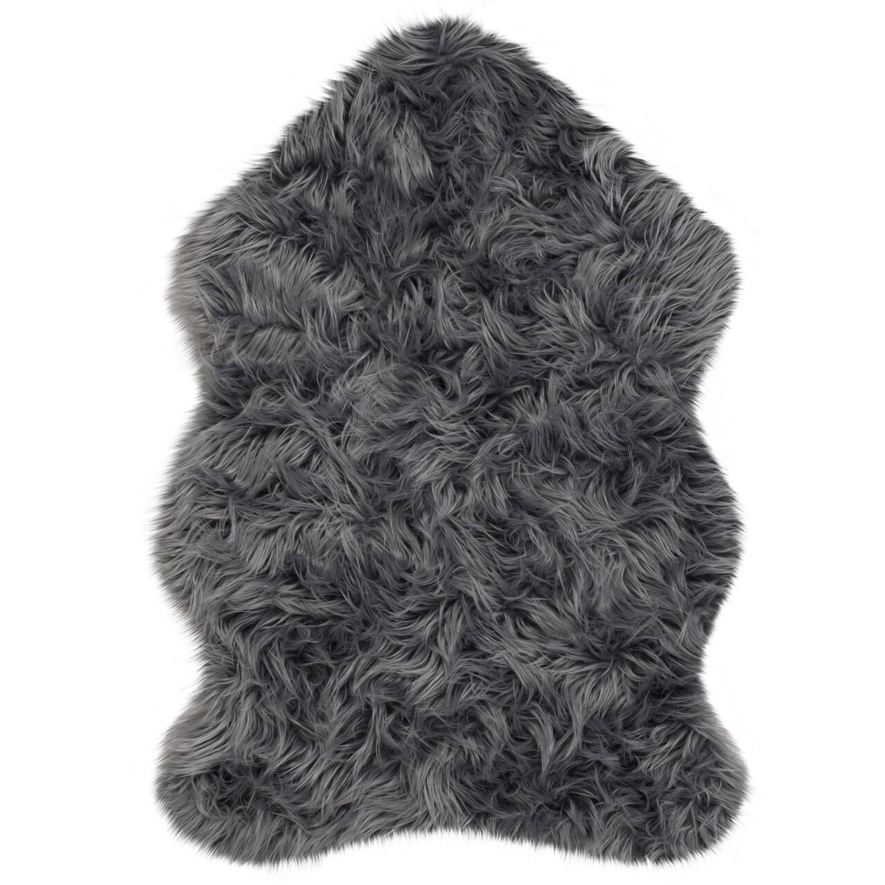 Covor Sheepskin Charcoal, Flair Rugs, 70 x 140 cm, poliester, gri