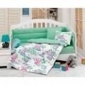 Set de pat pentru copii, 6 piese, 100% bumbac ranforce, Cotton Box, Elephant