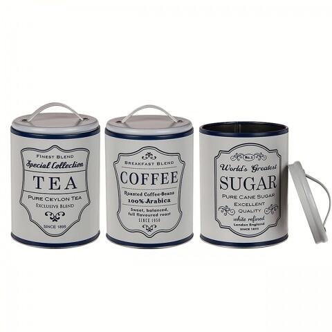 Set 3 cutii pentru depozitare ceai, cafea și zahăr
