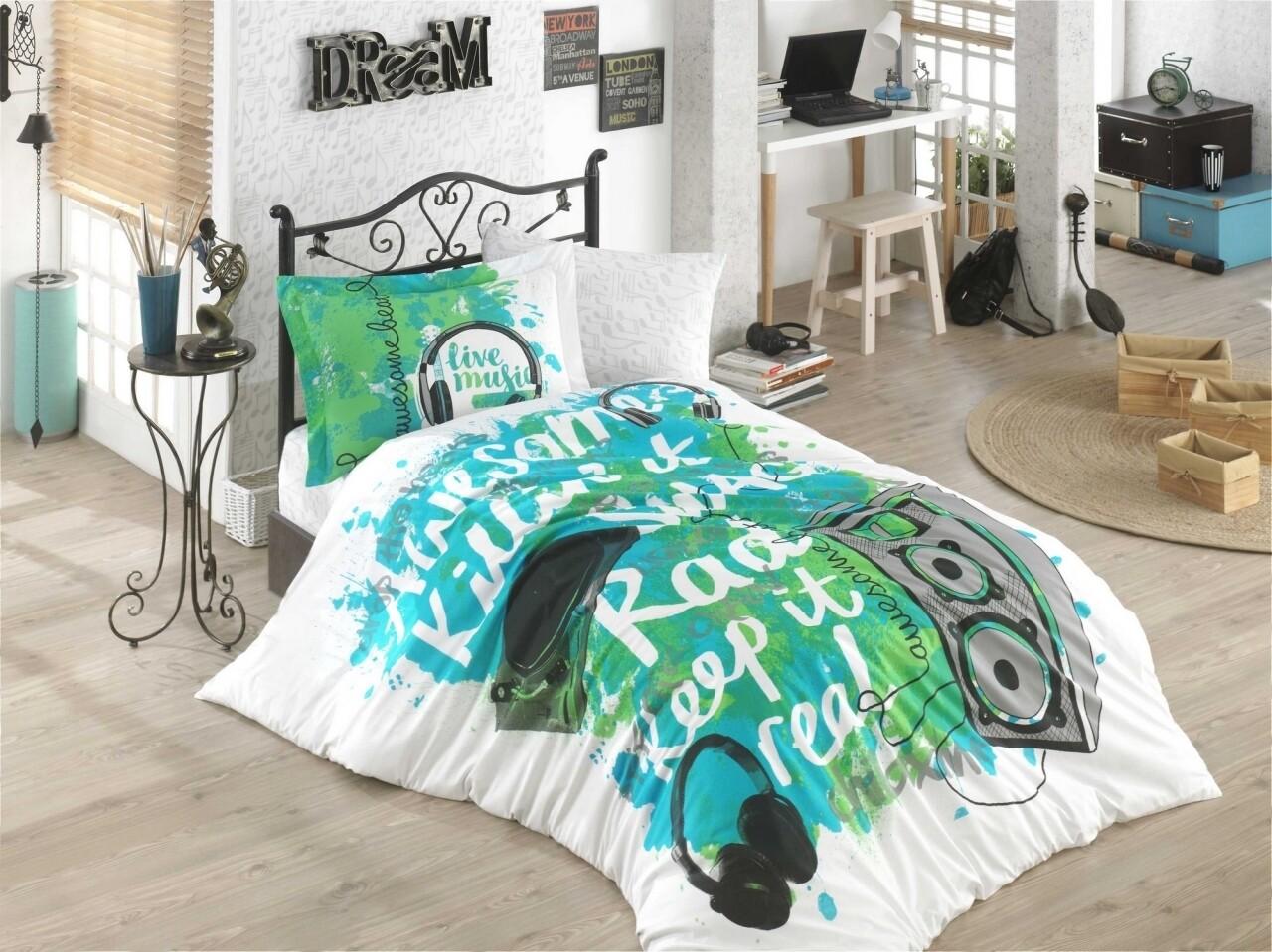 Lenjerie de pat pentru o persoana, Live Music Green, Hobby, 3 piese, 160 x 240 cm, 100% bumbac poplin, verde/alb