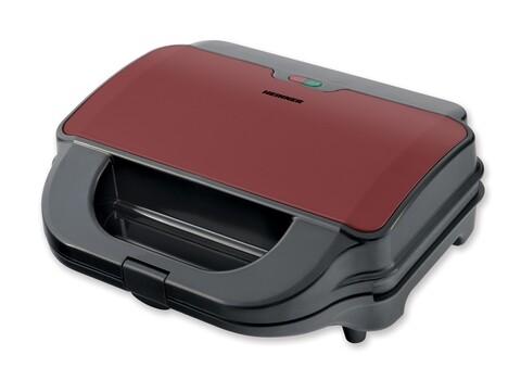 Sandwich maker Heinner, 900 W, placi detasabile, grill, waffles, negru/rosu sidefat
