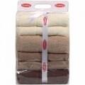 Set 4 prosoape de maini 70x140 cm, 100% bumbac, Hobby, Brown