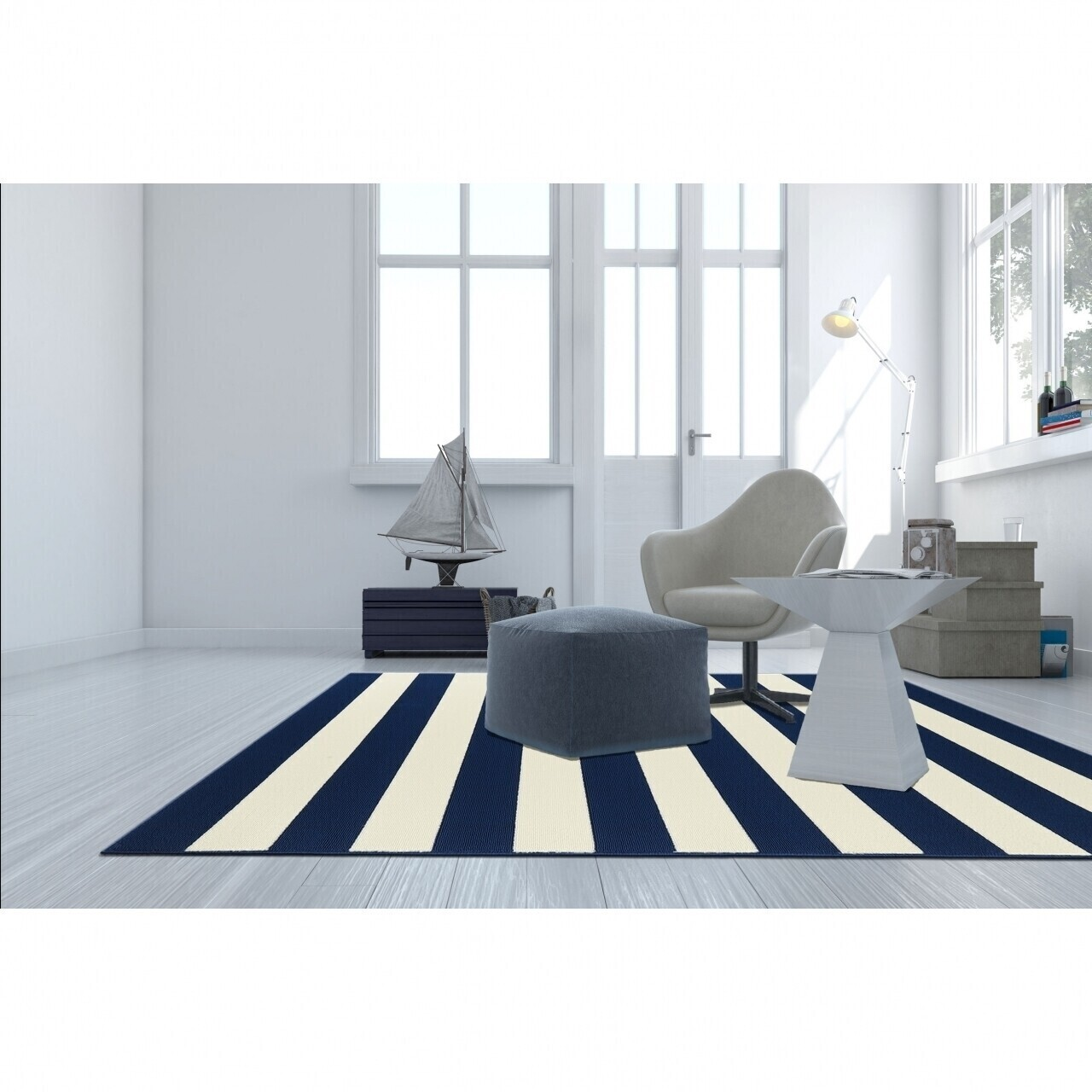 Covor indoor outdoor Floorita STRIPES NAVY 133X190