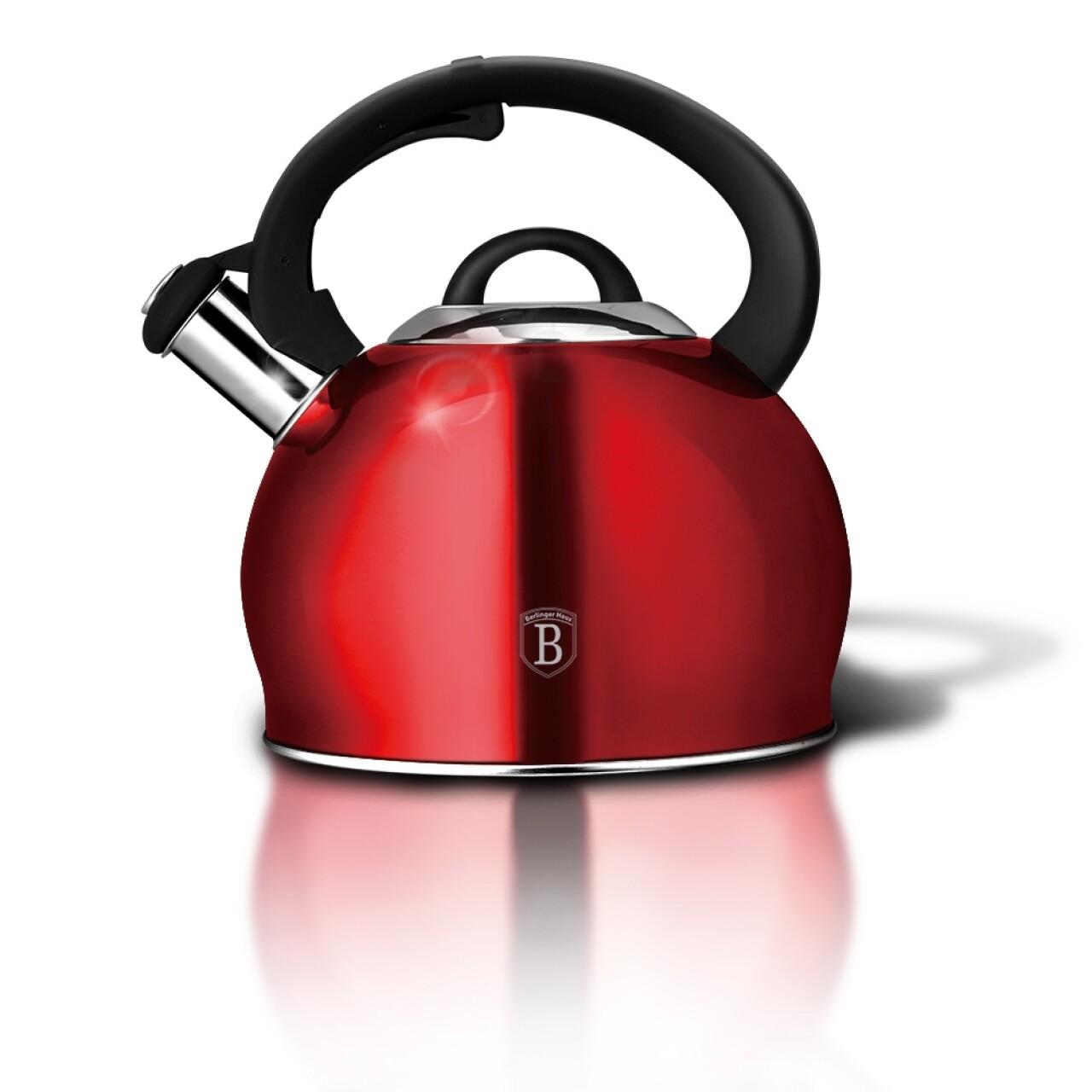 Ceainic cu fluier, Berlinger Haus, 3 L, inox,  Burgundy